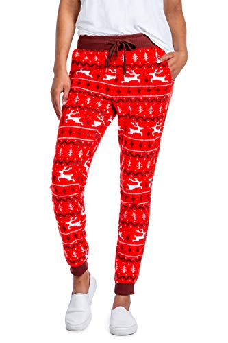 Women's Red Reindeer Christmas Joggers - Comfy Cute Christmas Sweat Pants: S