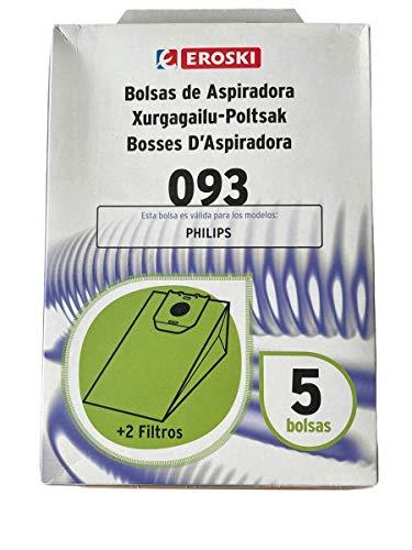 Eroski Bolsas de papel para aspiradora Philips Oslo+, HR6938, HR6939.