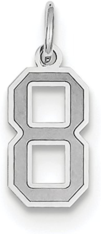 Diamond2Deal 14k White gold Small Satin Number 8 Pendant