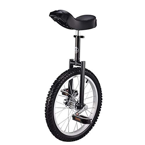 HWF Einrad 18-Zoll-Rad Einrad für Kinder & Jugendliche Reitbalance Üben, Aluminiumfelge Stahlgabelrahmen, Tragender 150kg / 330 Lbs (Color : Black)