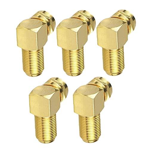 Adaptador de cable Conector de ángulo F para cable de antena Conversión de oro coaxial con conversión de oro 5pcs