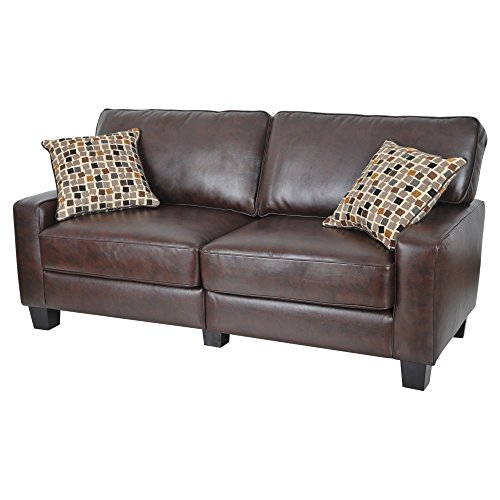 "Serta RTA Palisades Collection 73"" Sofa in Chestnut Brown"