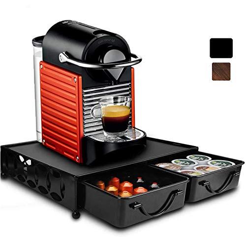 Supporto in metallo compatibile con cassetto per capsule Nespresso Nero puro.
