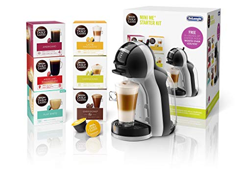 De'Longhi Nescafé Dolce Gusto Mini Me, Single Serve Capsule Coffee Machine Starter Kit, Including 6 boxes of Coffee Pods, EDG155.BG, Black & Grey
