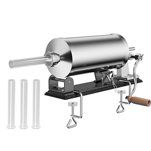DREAMADE Wurstfüllmaschine mit 4 Füllrohre, Wurstfüller Edelstahl Wurstmaschine, Fleischwolf Wurstspritze Wurstpresse, Silbrig (4,8 L)