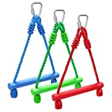 Rainbow Craft 3-Pack Kids Ninja Monkey Bars - Trapeze Swing Bars for Ninja Obstacle Course Attachments - 3pc of Blue, Red & Green Color