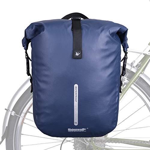 Bolsa Alforjas de Bicicleta Impermeable,Bolsa de Bicicleta Alforja Trasera Rack 20L Multifunción para Bicicleta MTB Carretera Viajes equitación,Azul