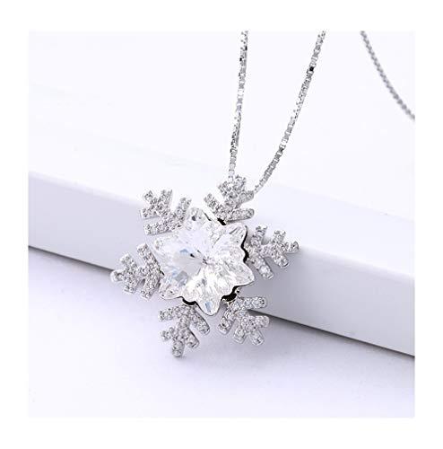 sknonr Copo de Nieve de Cristal Collar de Corea del Colgante de joyería de la Novia (Color : White)