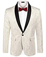 COOFANDY Mens Floral Tuxedo Jacket Paisley Embroidered Suit Blazer Jacket for Dinner,Party,Wedding,Prom (XX-Large, Beige