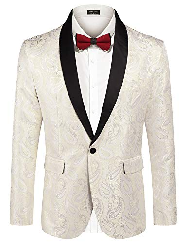 COOFANDY Mens Floral Tuxedo Jacket Paisley Embroidered Suit Blazer Jacket for Dinner,Party,Wedding,Prom (Medium, Beige