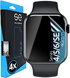 [4 Stück] 3D Schutzfolien kompatibel mit Apple Watch 40mm (Series 4 / 5 / 6 / SE), durchsichtige HD Bildschirmschutz-Folie, Schutz vor Dreck & Kratzern, kein Schutzglas - smart engineered