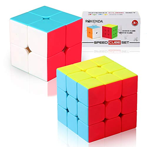 Roxenda Speed Cubes, Speed Cube Set of 2x2x2 3x3x3 Stickerless Puzzle Magic Cube with Gift Box, Frosted Surface Enhanced Edition