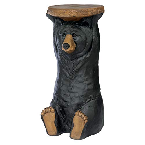 Design Toscano Black Forest Bear Pedestal Table Rustic Cabin Decor, 24 Inch, multicolored