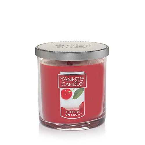 Yankee Candle Cherries On Snow Small Single Wick Tumbler Candle, Festive Scent