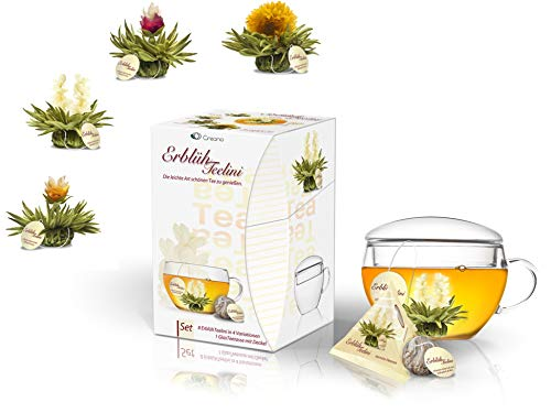 Creano ErblühTeelini Teeblumen Geschenkset mit Teeglas und 8 Teeblumen im Tassenformat Weißer Tee