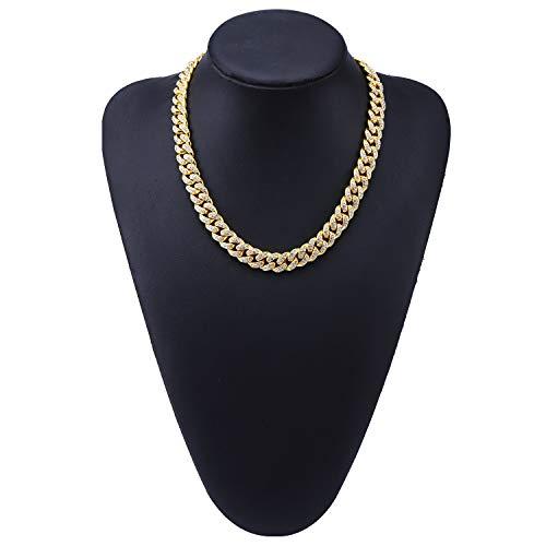 Hip Hop - Collar de estilo cubano con colgante de calle hipster punk para hombre y mujer, joyería de regalo (oro, plata), collar, 123, dorado, 46 cm