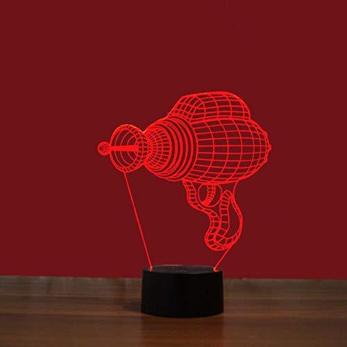 Yujzpl 3D-illusielamp Led-nachtlampje, USB-aangedreven 7 kleuren Knipperende aanraakschakelaar Slaapkamer Decoratie Verlichting voor kinderen Kerstcadeau-Mini elektrische boormachine
