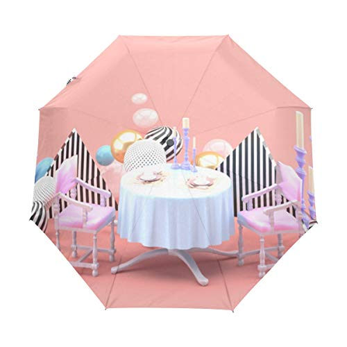 XUGGL Nice Parasol For Travel Pink 3D Stereoscopic Mini Polyester With Cover Automatic Open Close For Men