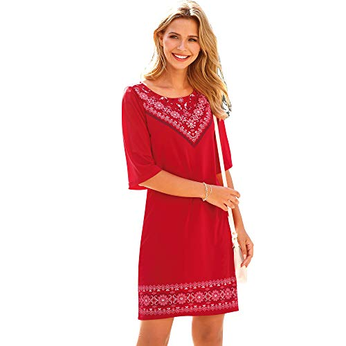 VENCA Vestido Estampado posicional en Escote y bajo Mujer by Vencastyle - 025215,Rojo,L