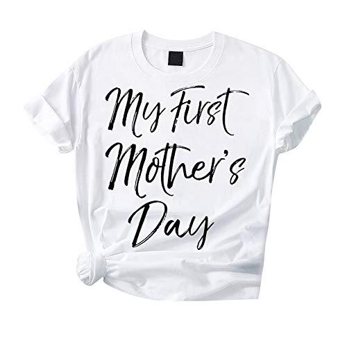 Kpasati Muttertagsgeschenk Damen Schwarz-Weiss Oberteile Damen Kurzarm Damen Hemden Frauen T-Shirt Briefdruck Tops