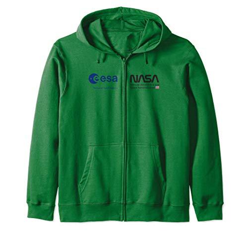 ESA NASA Shirt, EU USA Weltraum Kooperation Brust Logo Kapuzenjacke