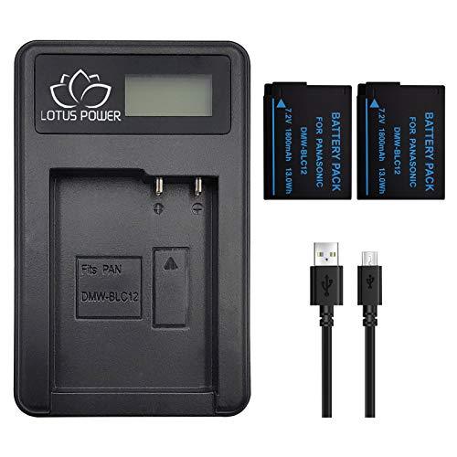 LOTUS POWER Reemplazo de Paquete de Batería DMW-BLC12 1800mAh con Cargador, Batería BLC12 y Cargador para Cámara Panasonic Lumix DMC-G5/G6/G7 DMC-FZ200/FZ1000 DMC-G85/G80 (1 Cargador y 2 Baterías)