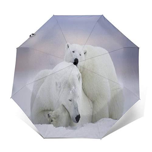 TISAGUER Paraguas automático de Apertura/Cierre,Dos Lindos Osos Polares descansando sobre la Nieve,Paraguas...