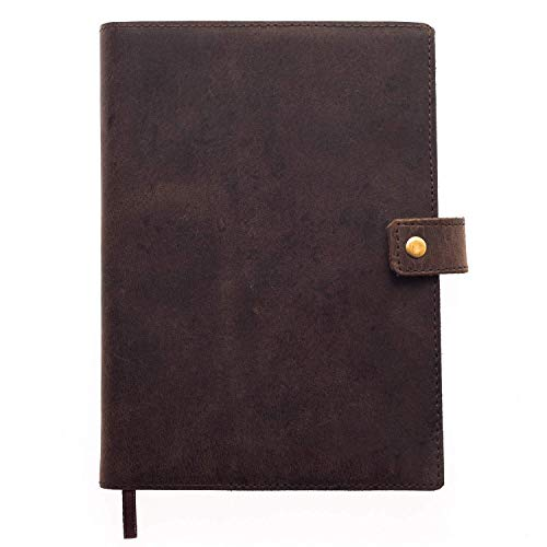 Refillable Leather Journal | Premium Lined A5 Writing Notebook Cover | Pen Holder & Card Slot | 200 Pages | 9 x 6 Inches Leather Bound Journal for Men & Women, Best Gift for Travel Diary