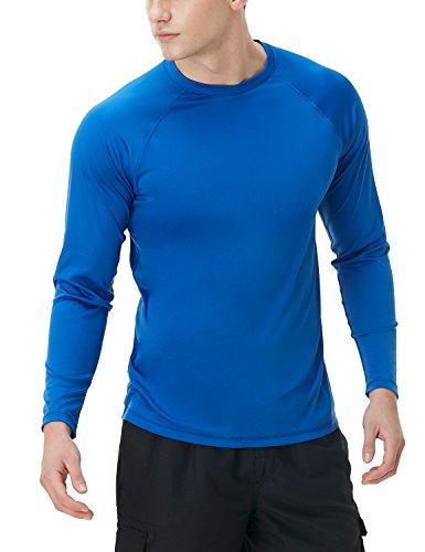 TSLA Camiseta de natación para hombre, UPF 50+, camiseta de manga larga holgada, secado rápido, Cool Running Workout SPF/UV, Hombre Niños Unisex niños, Mss03 1 pack – azul., medium