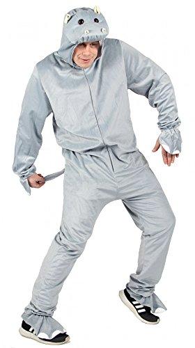 Foxxeo Hippo Nilpferd Kostüm Grauer Overall für Erwachsene Tierkostüm Damen Herren Fasching Karneval Größe XXL