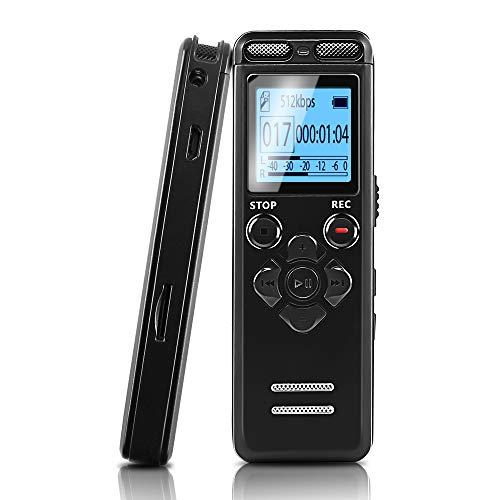 JAOK Mini-Diktiergerät für Vorlesungen, Meetings und Klasse, 8 GB, digital, aktiviertes Audio-Klebeband, Aufnahmegerät mit doppelempfindlichem Mikrofon und MP3-Wiedergabe