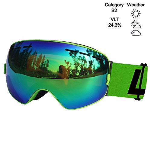 CSXM SkibrilleAnti-Fog-Skibrille UV400 Skibrille Doppellinsenskifahren Snowboard-Skibrille Skibrillen mit Einer aufhellenden Linse-K