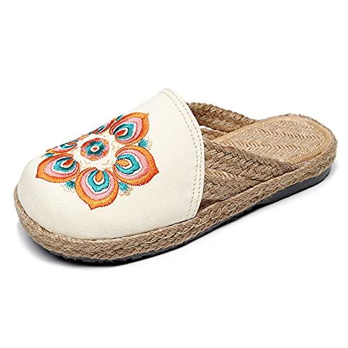 SLAYY Sandalias de patrón único de Las Mujeres, Sandalias de talón Abiertas para Mujer, Zapatos de Lino de Verano, Zapatos de Lona Transpirables White-39