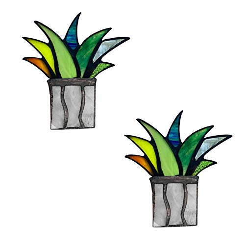 AGIZIO Sun-Catcher Stained Agave Plante, Mini Agave Aloe Potted Stained Acrylic Panel, Fake Plants Flower Pot Stakes, Garden Yard Art Stakes, Indoor Outdoor Tabletop Ornament (D, 2Pcs)