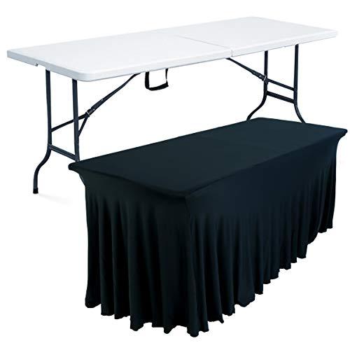 MOBEVENTPRO- Table pliante 8 places et nappe drapée noire - Blanc - 180cm x 74cm x 75cm