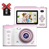 Appareil Photo numérique pour Enfants,Écran Tactile IPS HD 2,8 Pouces,Appareil Photo pour Enfants avec Double Objectif 18MP Pixel,Et Enregistrement vidéo Portable 720P (Rose)