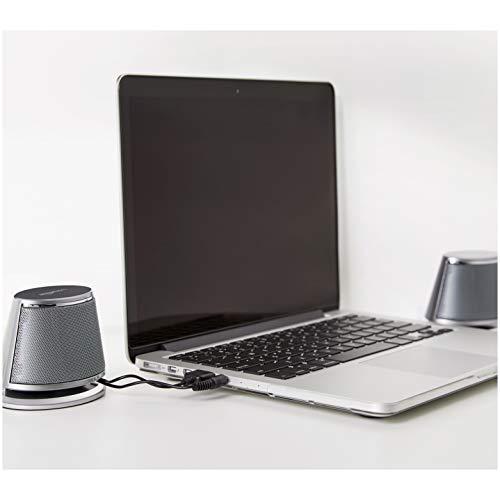 Amazon Basics - PC-Lautsprecher mit dynamischem Sound, USB-Betrieb, Silber, 4 Paar