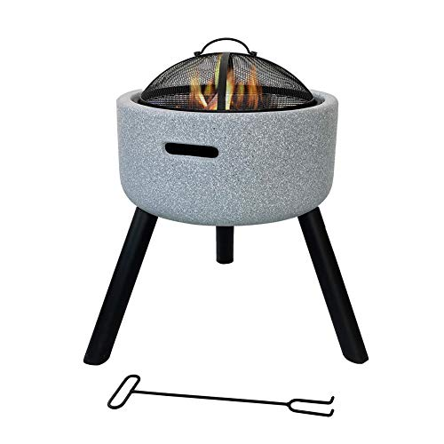 SHJC Garden Camping Poker Brazier Round Large Fire Pit with Grill, 3-in-1 Outdoor Garden Terrace Heater Brazier with Fashionable and Artistic Magnesium Oxide Base, Grill, Mesh Lid