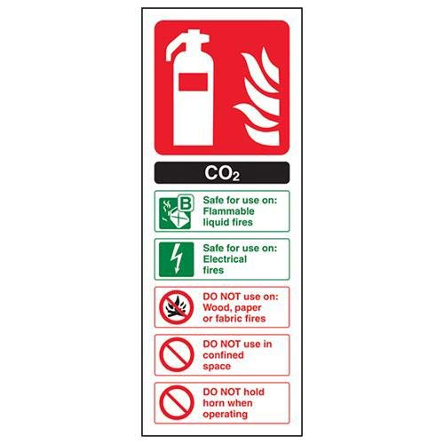 VSafety Carbon Dioxide Co2 Id Brandblusser bord - 75mm x 200mm - 2mm Rigid Plastic