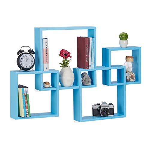 Relaxdays Juego de Estantes Flotantes en Forma de Cubos, Madera MDF, Azul, 92x62.5x10 cm, 4 Unidades