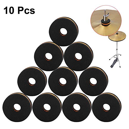 Ridecle 10 Pcs Cymbal Replacement Accessories Cymbal Felts Washers Cymbal Nuts Felt Drum Protection Kit