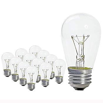 Pack of 25 - S14 11 Watt Glass Light Bulbs – Clear Glass– By Austin Light Co – Warm Incandescent Replacement Bulbs Idea for Austin Light Co String Lights Fits E27 & 26 Base.