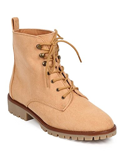 Qupid Women Suede Almond Toe Lace Up Tailored Combat Boot DC88 - Toffee (Size: 6.0)