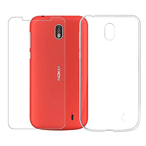 """Wenjie [Combinazione Pellicola Proteggi Schermo in Vetro temperato di Alta qualità Pellicola salvaschermo in Vetro temperato Silicone Case Cover per Nokia 1 (4.5"""")"""