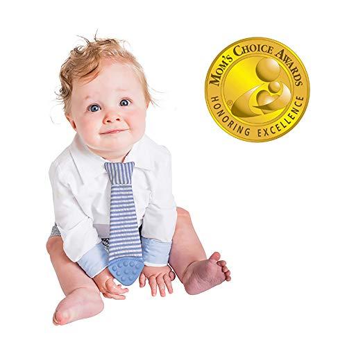 First Wearable Baby Teething Tie! #1 Baby Boy Gift, Baby Bib Tie, Baby Teether Toy (Seersucker)