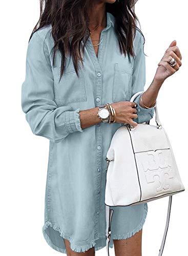 CORAFRITZ Damenmode Denim Hemdkleider Langarm Distressed Jeanskleid Button Down Casual Solid Color Midi Kleid für Herbst Gr. X-Large, blau