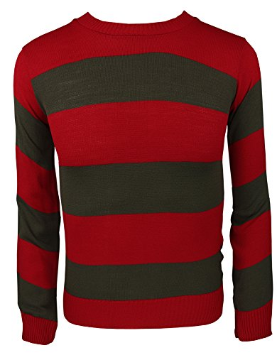 Sconosciuto Adulti e Bambini a Maglia Jumper Fancy Dress Personaggio Felpe Casual Stripped Top Red/Green Jumper Uomo - M
