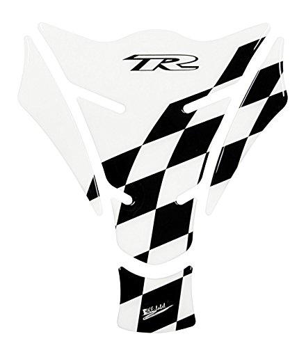 Tankpad 3D 501305 Racing Flag - Transparent/Black - lässt den Lack teilweise klar durchscheinen - universell für Yamaha, Honda, Ducati, Suzuki, Kawasaki, KTM, BMW, Triumph und Aprilia Tanks