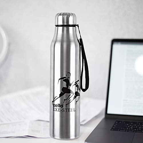 Cello Goldie Stainless Steel Water Bottle Set, 1 Litre, Set of 3 pcs, Silver