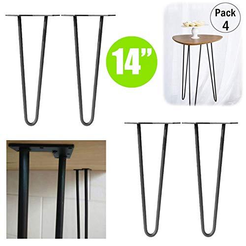 Chutd meubelpoten, vorkpoten, 14 inch (35,6 cm), voor handgemaakte salontafels van zeer sterk staal, zwart, 10 mm dik, 2 punten meubelstukken in industriële stijl